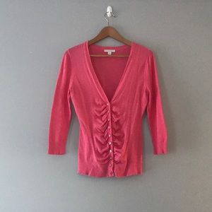 Ny & company pink ruched button down cardigan